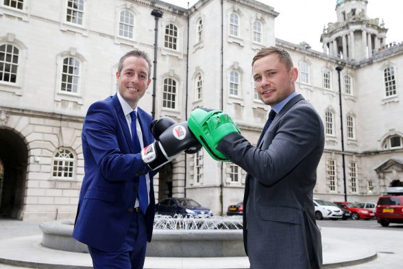 Sports Minister Paul Givan pictured with 2 time world champion Carl Frampton to announce  a funding package of up to £200,000 to help a number of amateur boxing clubs carry out capital works to improve their premises.   Photo by Kelvin Boyes / Press Eye
