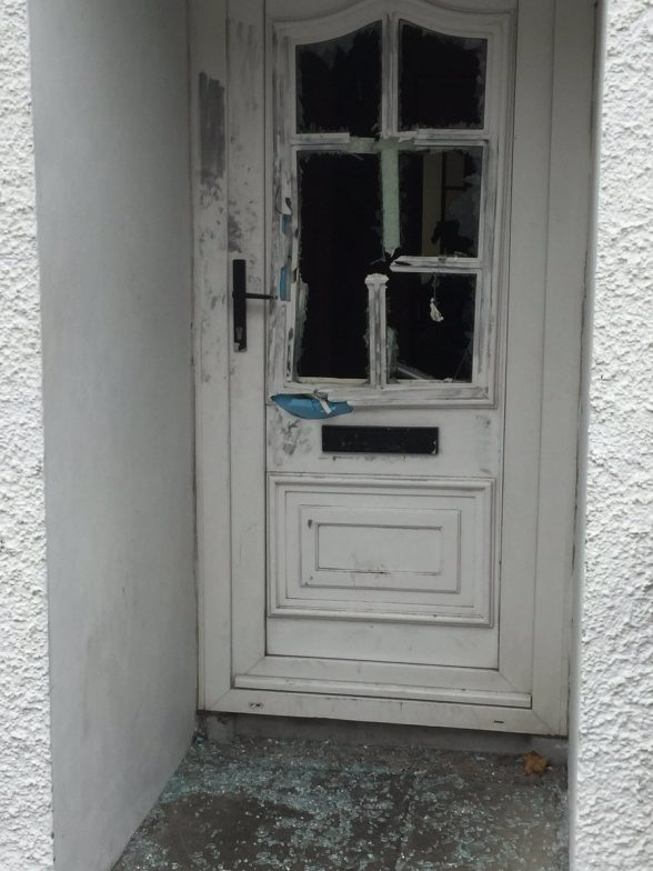 One of the homes attacked in Larne by masked men armed with hatchets