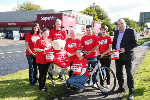 Store Manager Ian Elliott and staff from McCoolÕs SuperValu Ballymoney are putting their best ÔpawÕ forward by taking on an almighty trolley dash Ð 500 miles in 10 days - to raise £10,000 for Action Cancer. Led by an Action Cancer bear mascot, eight members of staff from the popular shop will set out on an arduous walk and cycle around Northern Ireland, calling in at all 34 SuperValu shops in the Province, to raise vital funds for Action CancerÕs Big Bus, which is sponsored by SuperValu and is this year celebrating its 10th birthday. The team will set off from the SuperValu store in Kells on September 10th and after travelling the length and breadth of the country will finish in Belfast on September 19th. To follow the teamÕs journey and offer support, visit SuperValu BallymoneyÕs Facebook page www.facebook.com/supervaluballymoney or go to www.facebook.com/ActionCancer. Store Manager Ian Elliott is pictured with Gillian Thompson from Action Cancer and staff members who are taking part in the trolley dash.