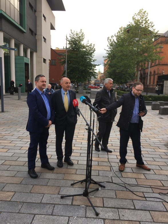 Gareth Lee speaking to the media before going into the High Court