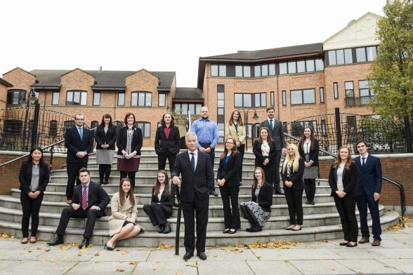 Accountancy and business advisory firm, BDO Northern Ireland, today confirmed the appointment of 18 new trainees at its Belfast headquarters. Pictured with the new recruits is BDO Northern Ireland Senior Partner, Nigel Harra.