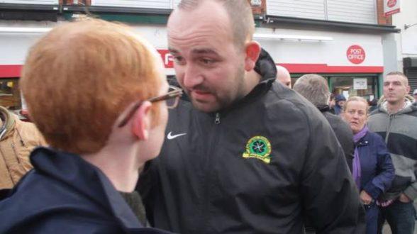 GARC bully boy Gerard McCusker threatens Sunday Life reporter Christopher Woodhouse. Pic: Belfast Telegraph