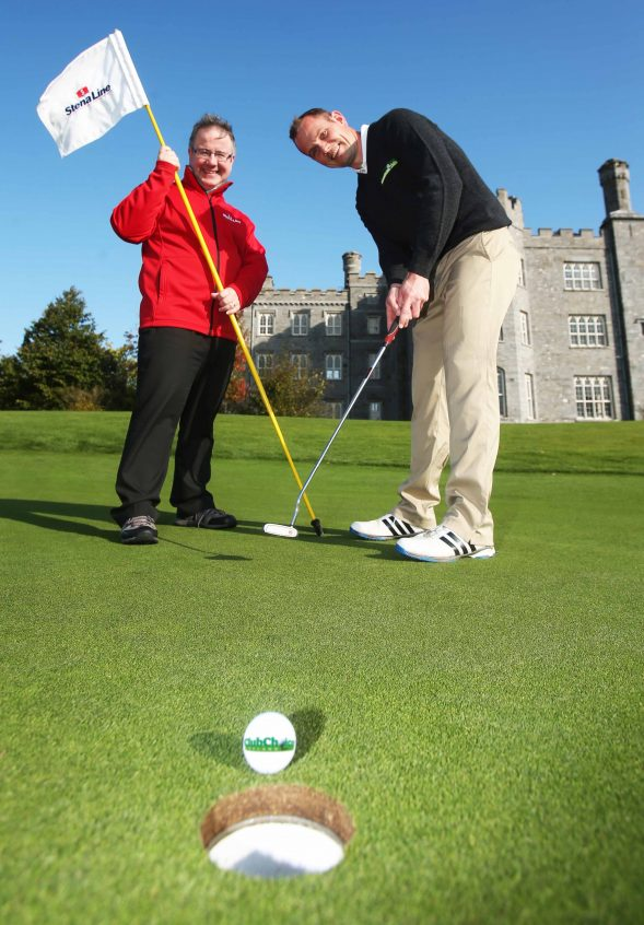 Ian Baillie, Stena Line Product Sales Manager UK & Ireland and Tiernan Byrne, Managing Director Club Choice Ireland pictured at Killeen Castle Golf Club in County Meath to launch the Stena Line 2017 Golf Events.