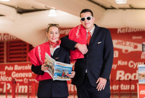 Jet2 cabin crew Megan Kaye and Ben Jowitt launch the company's biggest ever Winter programme from Northern Ireland. The leading leisure airline and package holiday company has added over 40,000 EXTRA SEATS for its Winter 17/18 programme from Belfast International Airport, with even more flights and extended season lengths on popular destinations. Over 100,000 seats are now on sale from Belfast International Airport to a choice of winter sun destinations across the Mediterranean and Europe, an impressive 65% uplift on this year.