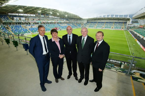 First Minister Arlene Foster and Deputy First Minister Martin McGuinness are pictured with Marco Van Basten, FIFA President, Gianni Infantino and Irish FA President, David Martin before the official opening ceremony. Photo by Kelvin Boyes / Press Eye