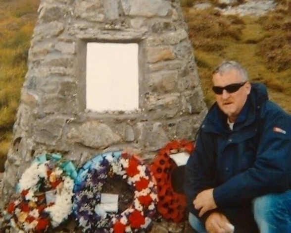 Former iRA supergrass Raymond Gilmour paying his respects at Chinook helicopter crash site in Scotland which killed 25 RUC Special Branch detectives, MI5 and British Military Intelligence officers in June 1994
