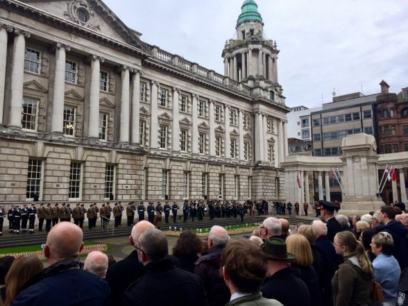 Remembrance Sunday service at Belfast City Hall today