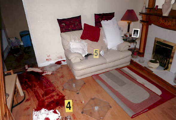 The scene of the punishment shooting gun attack in the living room of the house in Brompton Park, north Belfast