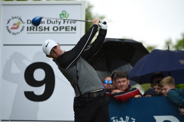 STRAFFAN, IRELAND - MAY 22: Rory McIlroy of Northern Ireland tees off on the 9th hole during the final round of the Dubai Duty Free Irish Open Hosted by the Rory Foundation at The K Club on May 22, 2016 in Straffan, Ireland. (Photo by Ross Kinnaird/Getty Images)