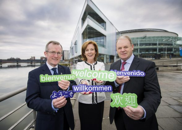 Tourism Ireland today launched details of its marketing plans to promote Northern Ireland overseas in 2017, at an event attended by tourism industry leaders from around Northern Ireland. Pictured are Niall Gibbons, CEO of Tourism Ireland; Joan O'Shaughnessy, Vice Chair of Tourism Ireland; and Brian Ambrose, Chairman of Tourism Ireland, Pic – Brian Morrison Photograph